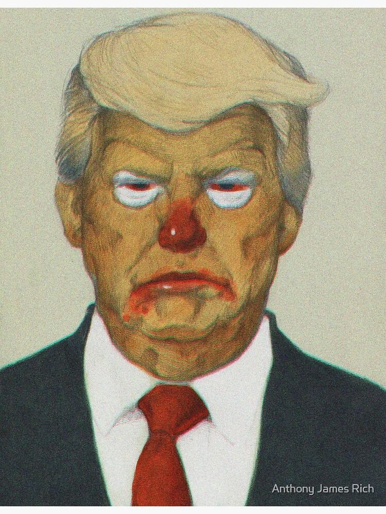 Loud Clown Trump Portrait   Digitally Manipulated Graphite Drawing by AJRart