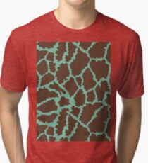 Blue Brown Leopard Skin Texture Tri-blend T-Shirt