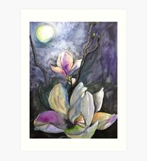 Moonlight and Magnolia Art Print