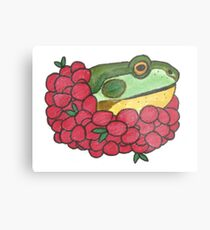 Frog and Cranberries it Must be Fall Metal Print