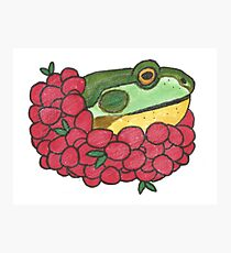 Frog and Cranberries it Must be Fall Photographic Print