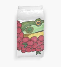 Frog and Cranberries it Must be Fall Duvet Cover