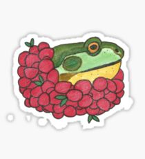 Frog and Cranberries it Must be Fall Sticker