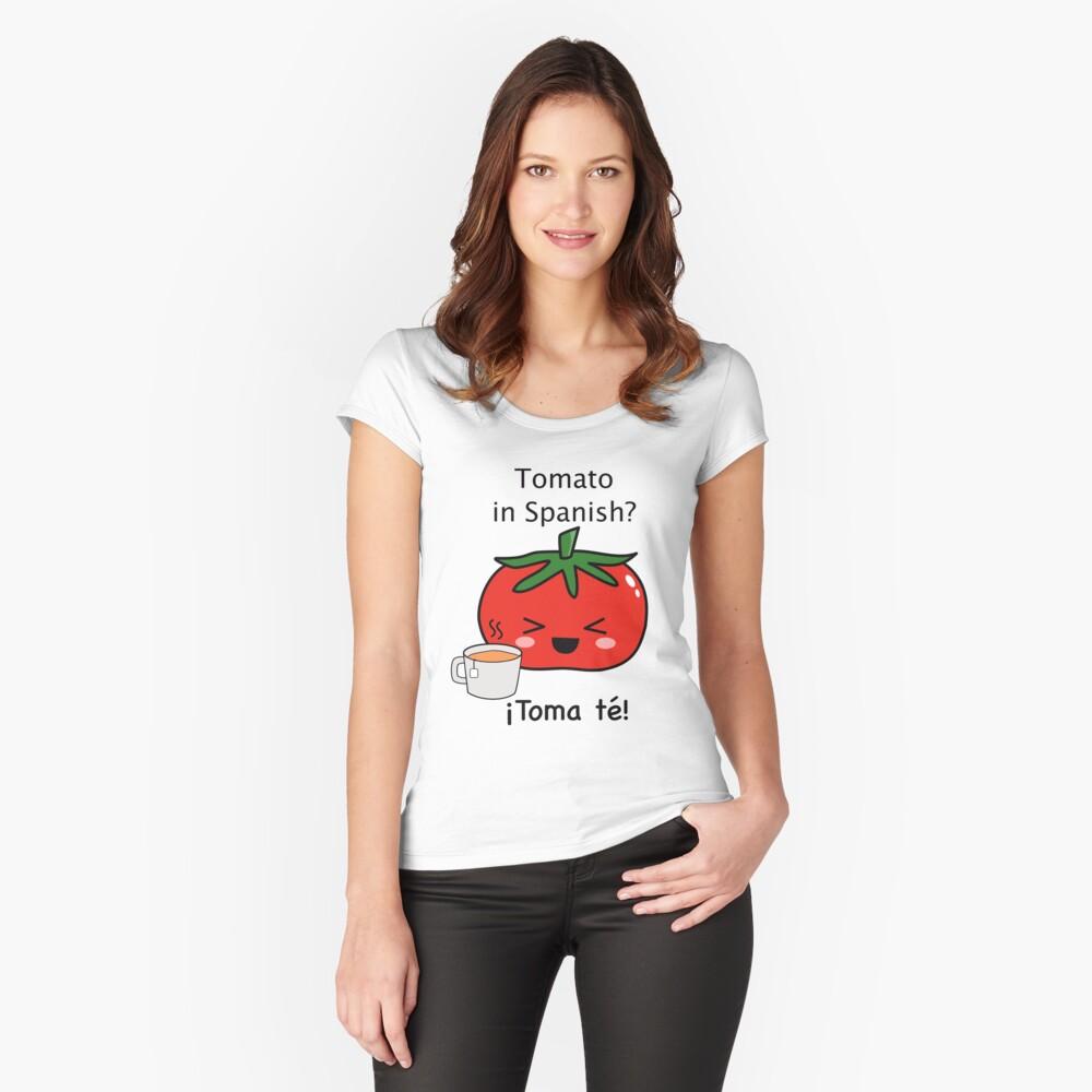 Tomato in Spanish Design - Spanish Jokes Fitted Scoop T-Shirt
