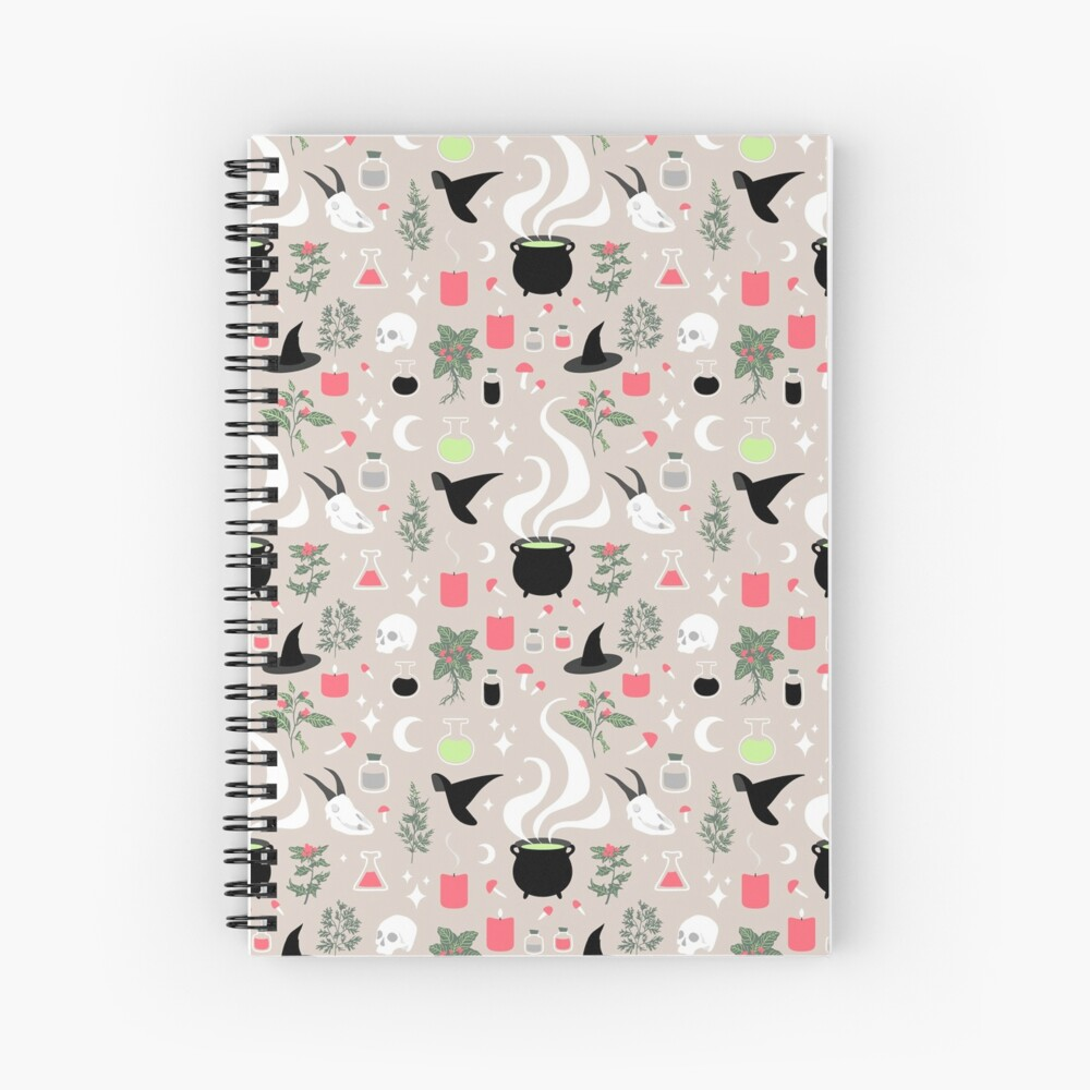 Witchy Pattern - Light Spiral Notebook