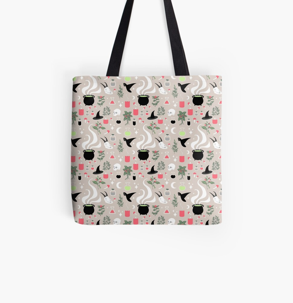Witchy Pattern - Light All Over Print Tote Bag