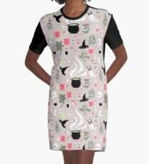 Witchy Pattern - Light Graphic T-Shirt Dress