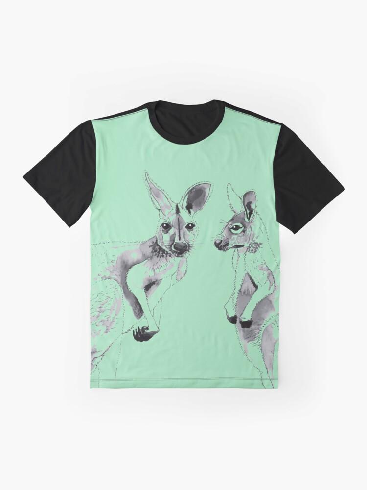 Alternate view of Kangaroos Black and White Graphic T-Shirt