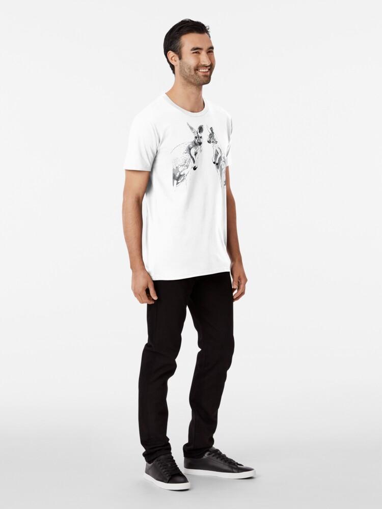 Alternate view of Kangaroos Black and White Premium T-Shirt