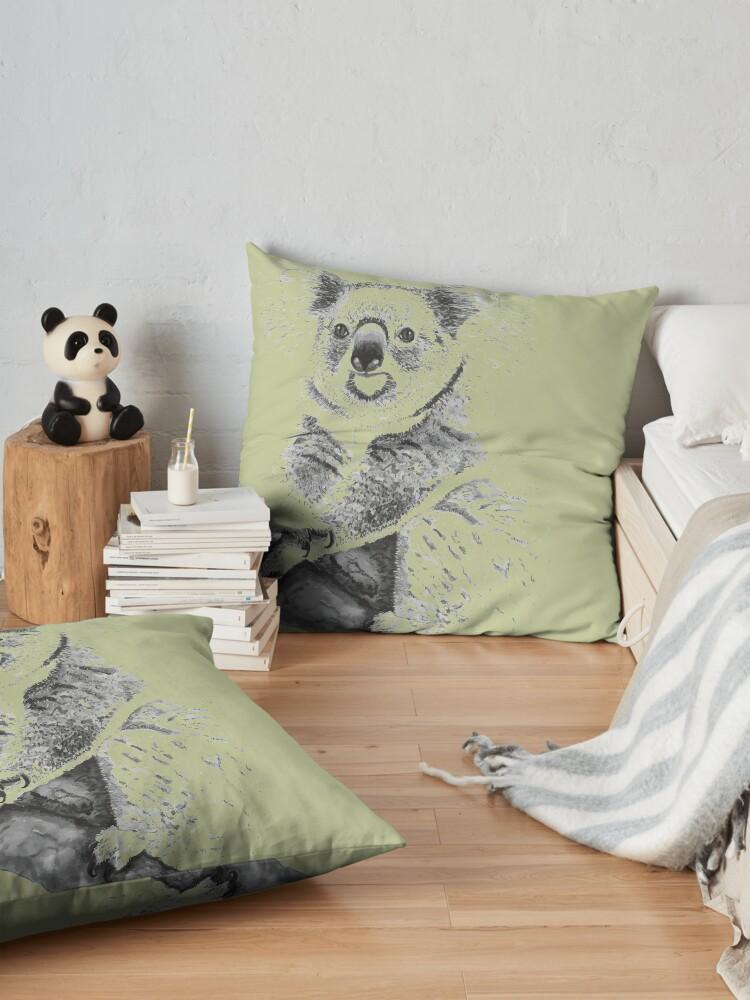 Alternate view of Koala Black and White Floor Pillow