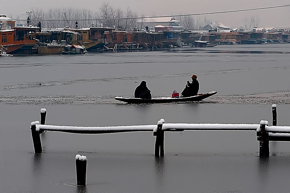 Dal Lake and Snow Fall by Mukesh Srivastava
