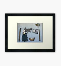 the washer woman & her nemesis... (oh crap!) Framed Print