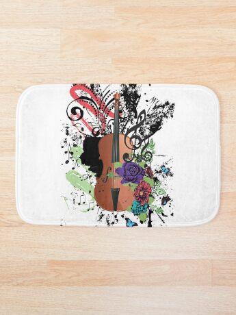 Grunge-Violine-Illustration Badematte
