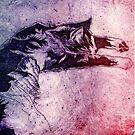 Purple Snoozing Tabby Cat by CraftyBunStudio