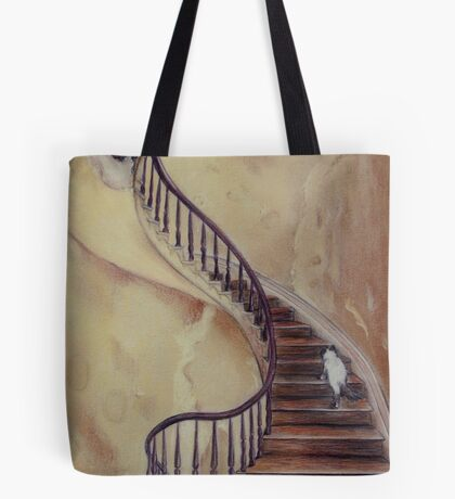 Cat on the Stairs Tote Bag