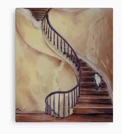 Cat on the Stairs Canvas Print