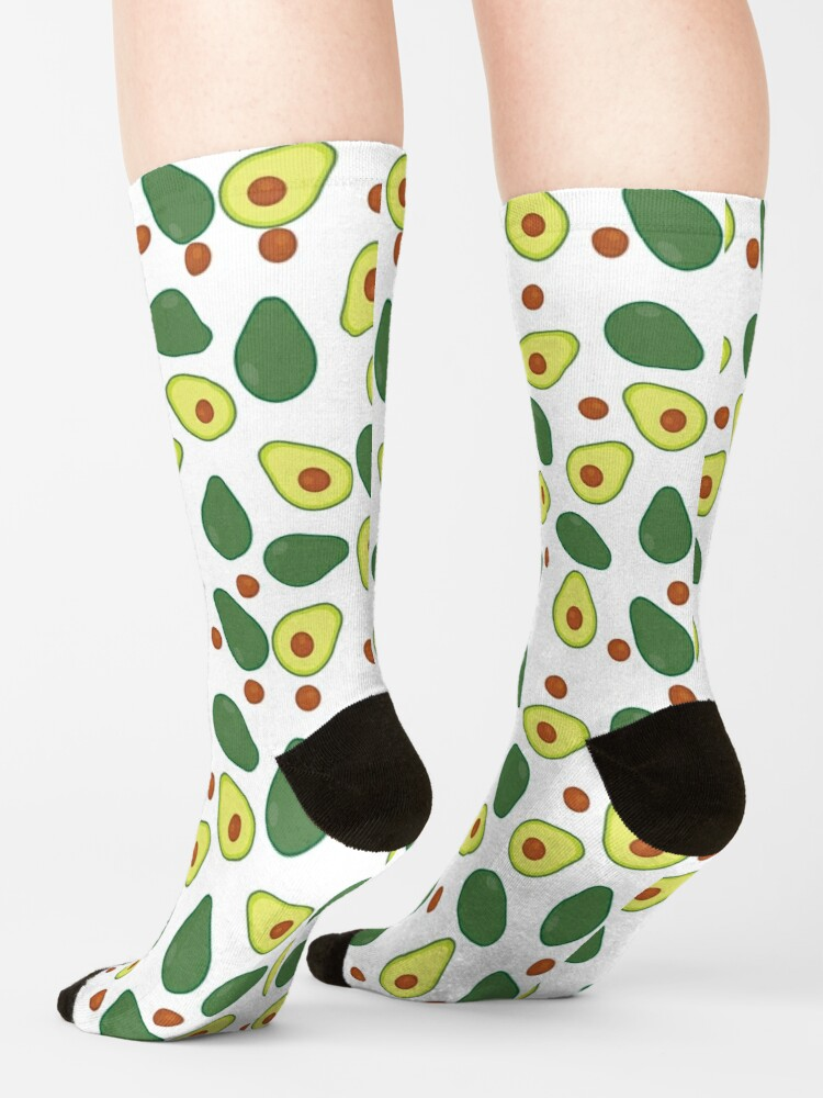 Alternate view of Fresh Lime Green and Yellow Avocado Pattern Socks