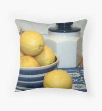 Lemons & Blue and White China Throw Pillow