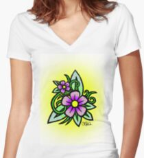Check Flowers Women's Fitted V-Neck T-Shirt
