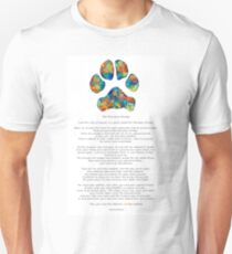 Rainbow Bridge Poem With Colorful Paw Print by Sharon Cummings Unisex T-Shirt