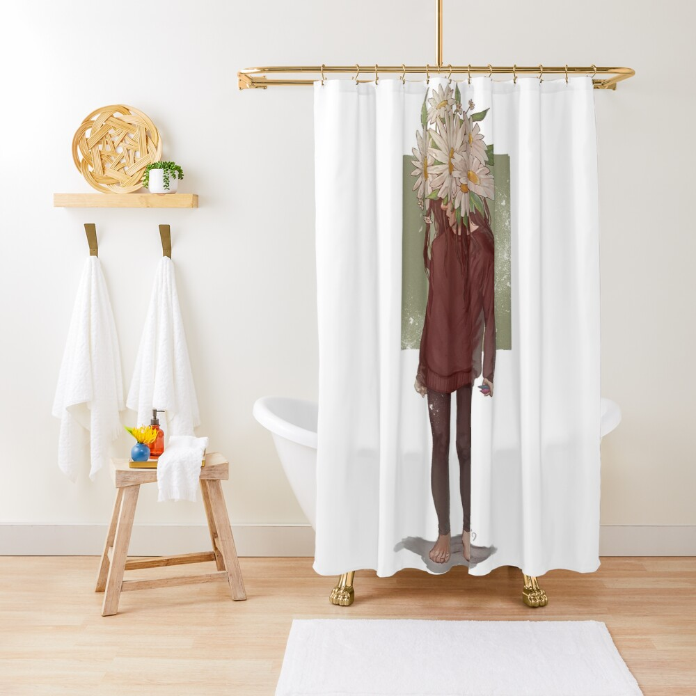 care and the daisies Shower Curtain
