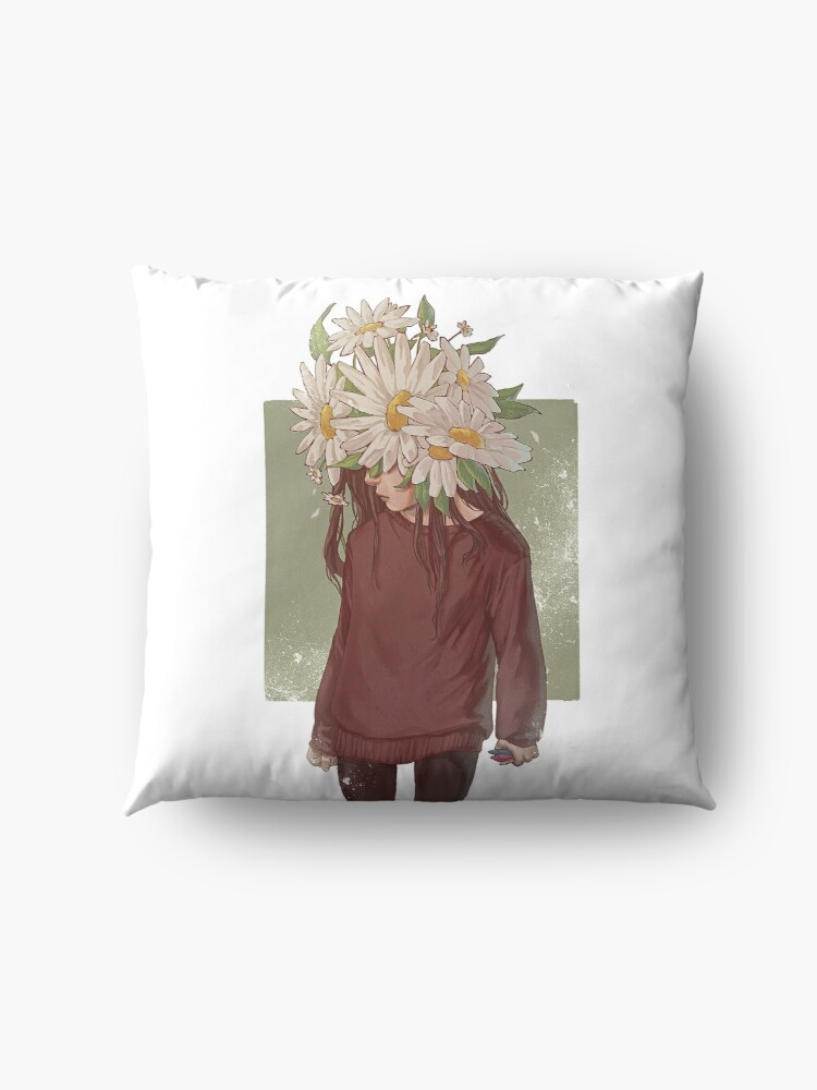Alternate view of care and the daisies Floor Pillow