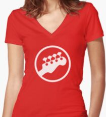 Bass Headstock T-shirt (Scott Pilgrim) Women's Fitted V-Neck T-Shirt