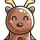 Kawaii Cute Red Nosed Reindeer by Fiona Reeves