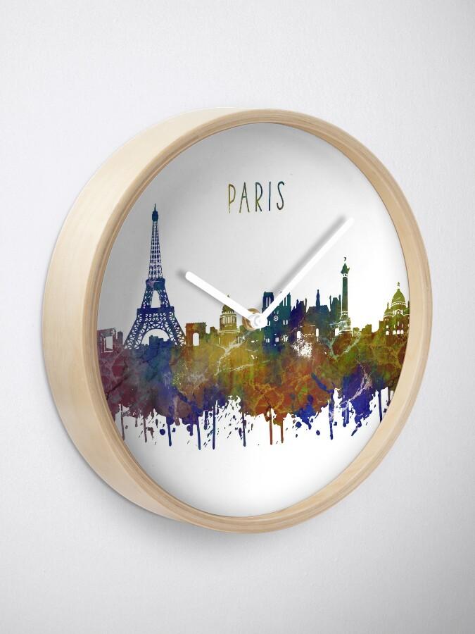 Alternate view of Paris, Paris skyline, Paris France, watercolor Paris Clock