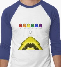 Super Shark + Ghosts Arcade Baseball ¾ Sleeve T-Shirt