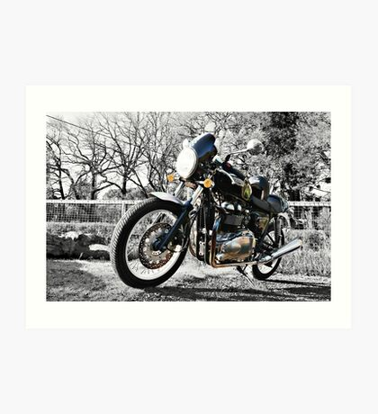 Parked Motorcycle (Monochrome) Art Print