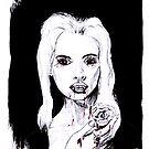 Vampir Lady, Portrait in schwarz weiß von Nadine Schnabel