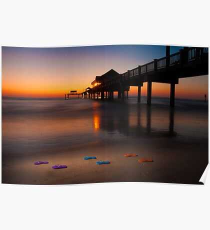 """""""Small Steps"""" - flip flops on Clearwater Beach, Florida Poster"""