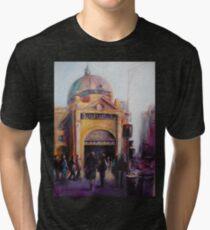 Morning bustle Flinders street Station Melbourne Tri-blend T-Shirt