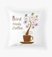 Save Birds' Habitats with Bird Friendly Coffee Throw Pillow