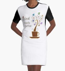 Save Birds' Habitats with Bird Friendly Coffee Graphic T-Shirt Dress