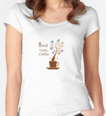 Save Birds' Habitats with Bird Friendly Coffee Fitted Scoop T-Shirt