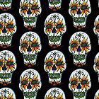 Whimsical Sugar Skull Calavera Sunflower Eyes Day of the Dead by Candace Byington