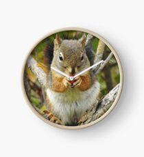 Adorable Mountain Ash Berry Squirrel Clock