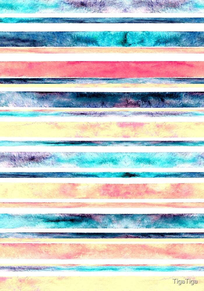 Watercolor Stripes - Pastel  by TigaTiga