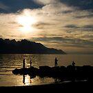 Fishing at sunset - Lake Geneva by Philippe Julien