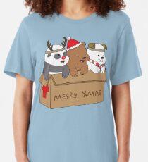 We Bare Bears Xmas Slim Fit T-Shirt