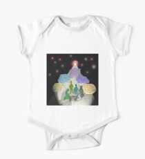 3 E.T. wise men visit Bethlehem in a Starship from the east One Piece - Short Sleeve