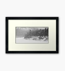 River in Heavy Snow Framed Print