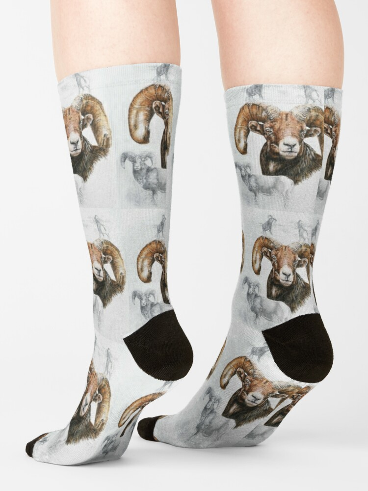Alternate view of North American Big Horn Sheep Collage Socks