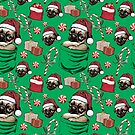 Christmas Pug Puppy Santa Hat by MudgeStudios