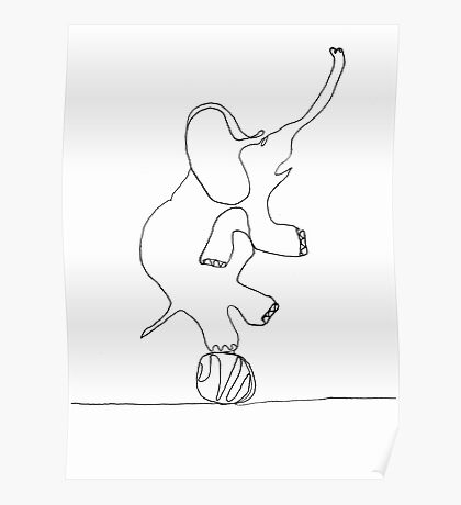 elephant on ball Poster