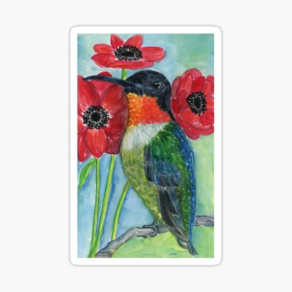 Hummingbird and Poppies Sticker