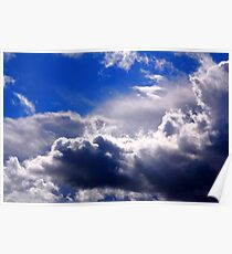 dramatic clouds in the blue sky Poster