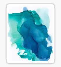 Teal Sunrise Abstract Blue Painting Sticker